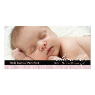 Pink Ribbon Girl Baby Birth Announcement Photocard Customized Photo Card
