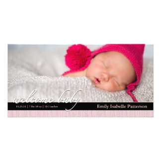 Pink Ribbon Girl Baby Birth Announcement Photocard Photo Cards