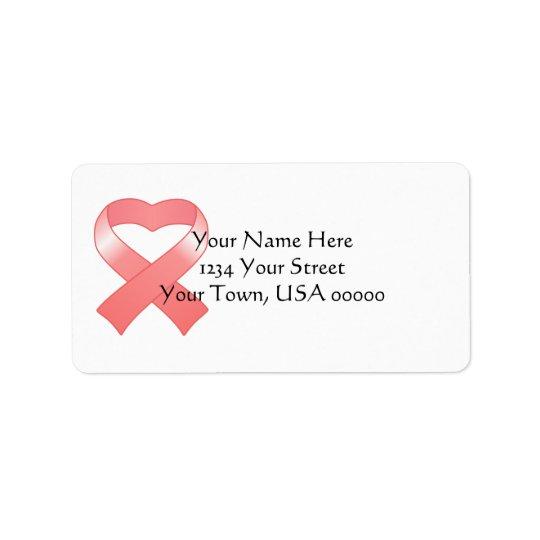 Pink Ribbon Heart Address Labels