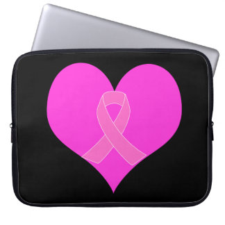 Pink Ribbon & Heart Breast Cancer Charity Design Laptop Sleeve