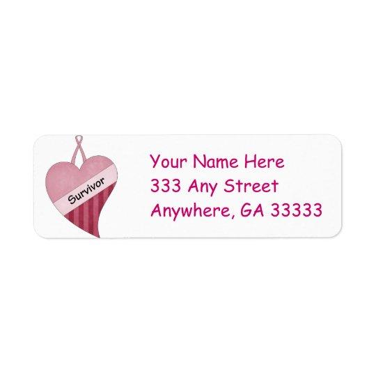 Pink ribbon & heart return address labels