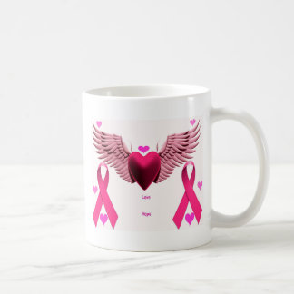 Pink Ribbon Hearts Basic White Mug