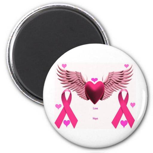 Pink Ribbon Hearts Magnets