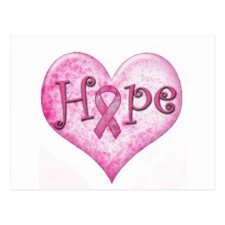 Pink Ribbon Hope Breast cancer awareness Postcard