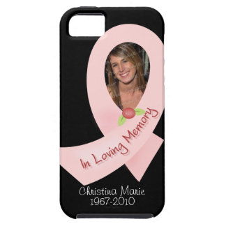 Pink Ribbon In Memory Of Photo Template Tough iPhone 5 Case