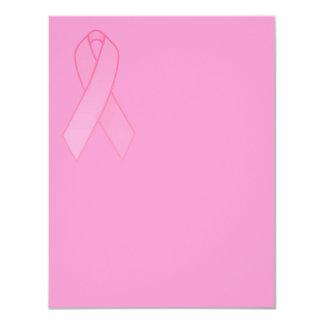 """Pink Ribbon 4.25"""" X 5.5"""" Invitation Card"""