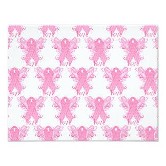 """Pink Ribbon Love 4.25"""" X 5.5"""" Invitation Card"""