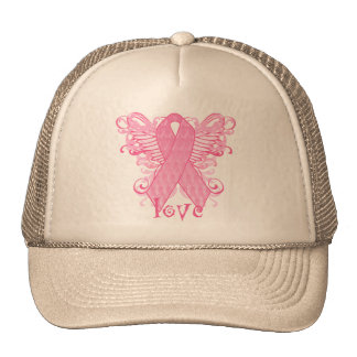 Pink Ribbon Love Wings Hat
