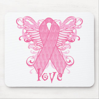 Pink Ribbon Love Wings Mouse Pad