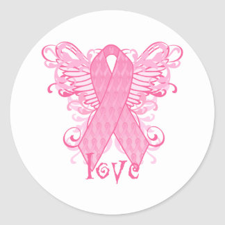 Pink Ribbon Love Wings Stickers