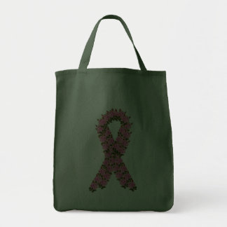 Pink Ribbon Made of Pink Roses Canvas Bags