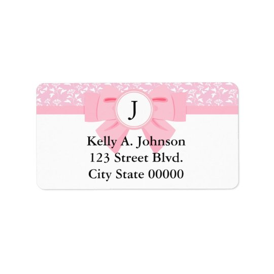 Pink Ribbon Monogram with Floral Print Address Label
