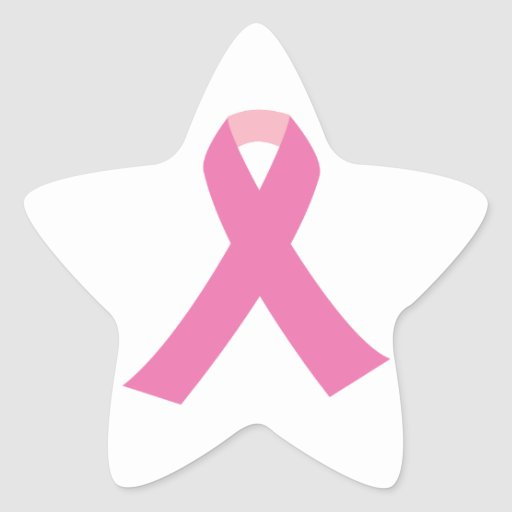 Pink ribbon of breast cancer awareness star sticker
