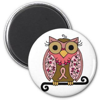 Pink Ribbon Owl 6 Cm Round Magnet