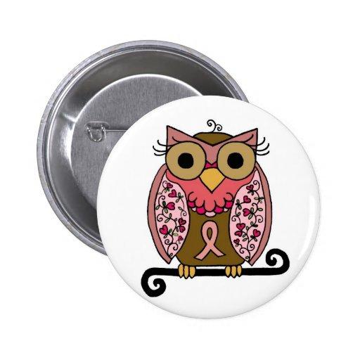 Pink Ribbon Owl Pins