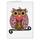 Pink Ribbon Owl Greeting Card