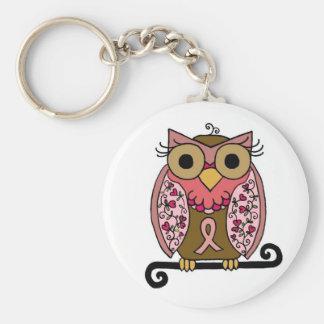 Pink Ribbon Owl Basic Round Button Key Ring
