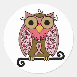 Pink Ribbon Owl Round Sticker
