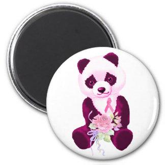 Pink Ribbon Panda Bear 6 Cm Round Magnet