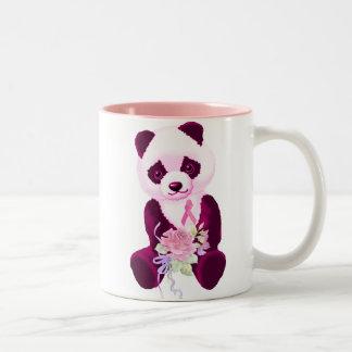 Pink Ribbon Panda Bear Two-Tone Coffee Mug
