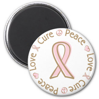 Pink Ribbon Peace Love Cure Breast Cancer 6 Cm Round Magnet