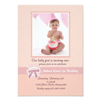 "Pink Ribbon - Photo Birthday Party Invitation 5"" X 7"" Invitation Card"
