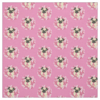 Pink Ribbon Pug Breast Cancer Awareness Fabric