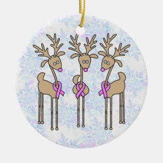 Pink Ribbon Reindeer - Breast Cancer Ceramic Ornament