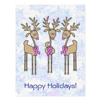 Pink Ribbon Reindeer - Breast Cancer Post Cards