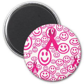Pink Ribbon Smiles That Help 6 Cm Round Magnet