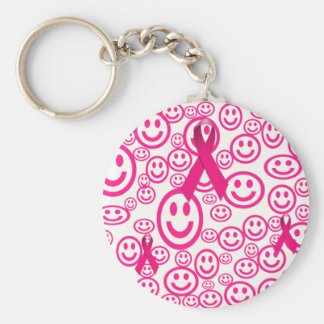 Pink Ribbon Smiles That Help Basic Round Button Key Ring