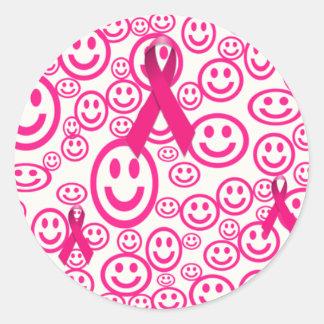 Pink Ribbon Smiles That Help Round Sticker