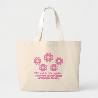 Pink Ribbon Snowflakes Products Canvas Bags