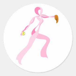 Pink Ribbon Softball Pitcher Round Sticker