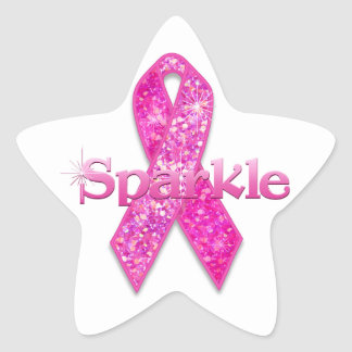 Pink Ribbon Sparkle gifts Star Sticker