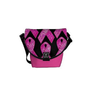 Pink Ribbon Sparkle Mini Messenger Bag
