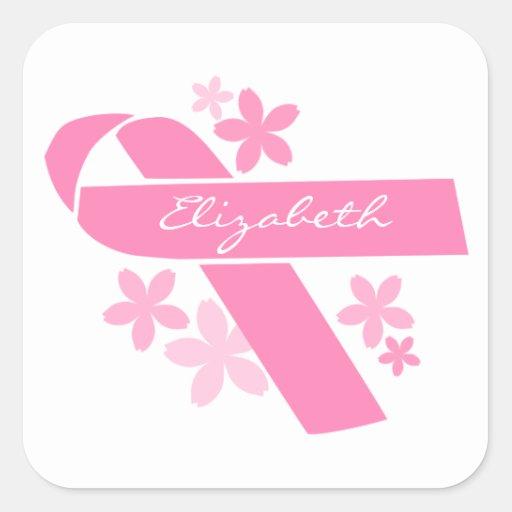 Pink Ribbon Square Sticker