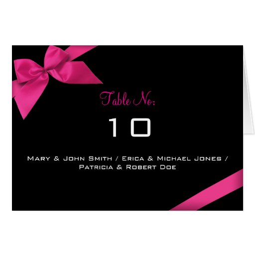 Pink Ribbon Table Place Card