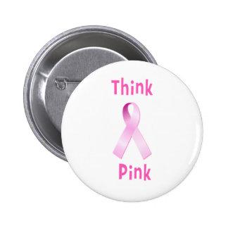 Pink Ribbon - Thnk Pink 6 Cm Round Badge