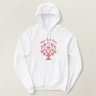 Pink Ribbon Tree Embroidered Hoodie
