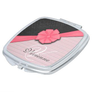 Pink Ribbon, Two Tone Grey Pink Stripes Mirror For Makeup