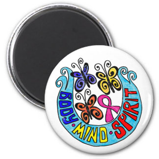 Pink Ribbon w/ Butterflies and  Body Mind Spirit 6 Cm Round Magnet