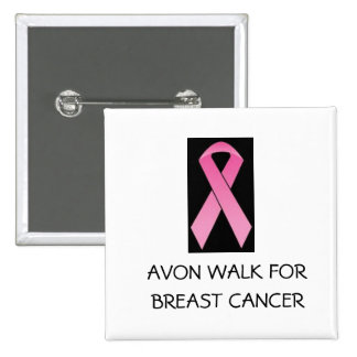 pink ribbon walk for breast cancer 15 cm square badge