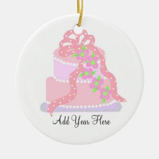 Pink Ribbon Wedding Cake Ceramic Ornament