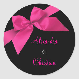 Pink Ribbon Wedding Invitation Announcement RSVP Round Sticker