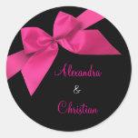 Pink Ribbon Wedding Invitation Announcement RSVP Round Stickers