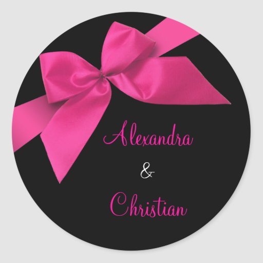 Pink Ribbon Wedding Invitation Announcement RSVP Stickers
