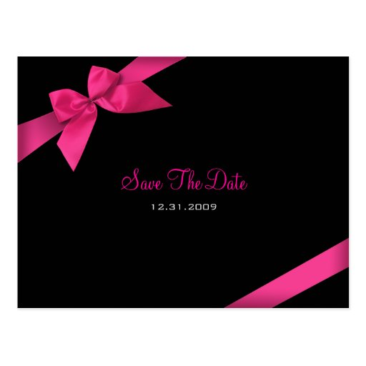 Pink Ribbon Wedding Save the Date 2 Post Cards