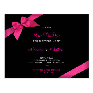 Pink Ribbon Wedding Save the Date 4 Postcard