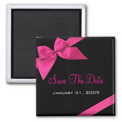 Pink Ribbon Wedding Save The Date Announcement1 Magnet
